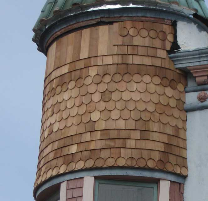 Close up view of the shingle detail