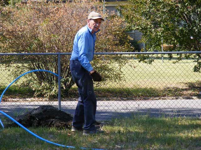 My Dad, digging a ditch