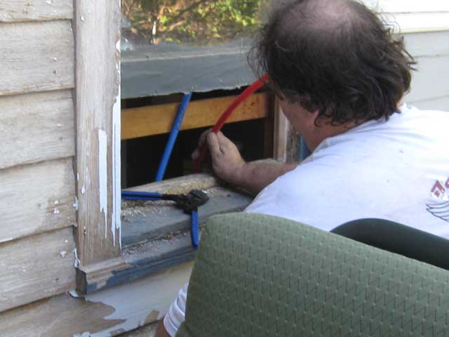 The first time I've ever had to open a window to work on the plumbing...