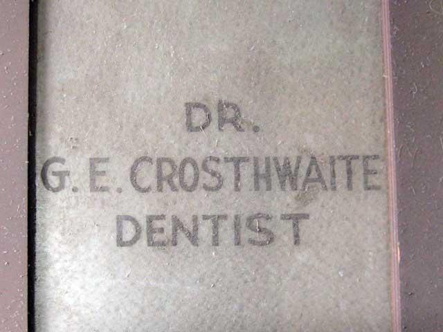 Dr. G.E. Crosthwaite, Dentist