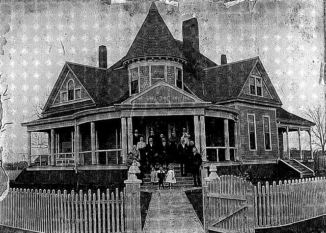 The Doak house circa 1902. That's the Doak family in the picture.