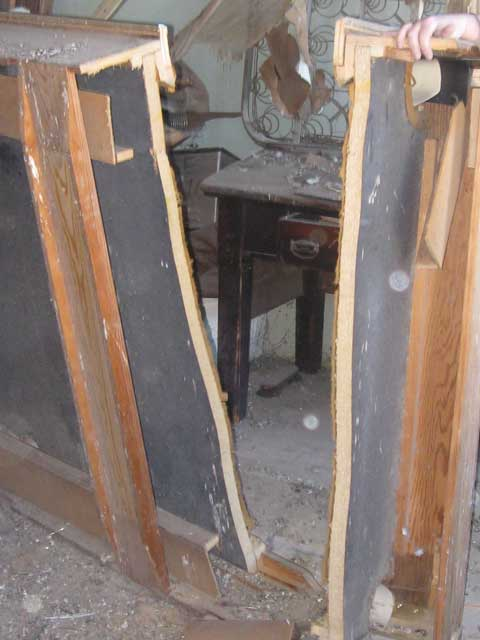 A late 60's pool table, covered in pigeon crap and in a pile in our historic building on the square...chop chop!
