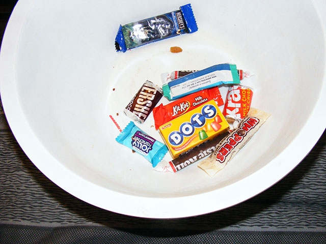 The remains of the day...all that's left of over 80 pounds of candy!